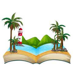 Open book summer beach theme vector