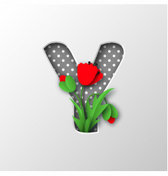 paper cut letter y with poppy flowers vector image