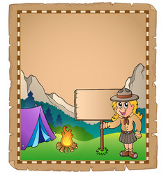 Parchment with scout girl and board vector
