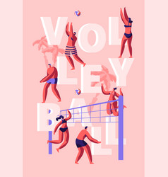 people playing beach volleyball poster summer vector image