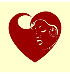 Red heart with silhouette of a lady vector