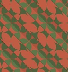 Retro 3D green and red with pointy four foils vector