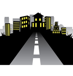 Road to City Silhouette vector