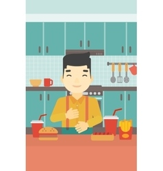 Satisfied man eating fast food vector