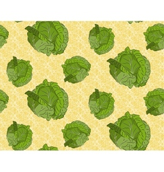 Seamless background with cabbage vector image