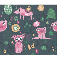 seamless pattern with cute piglets flowers vector image