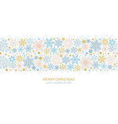 Seamless snowflake border christmas decoration vector