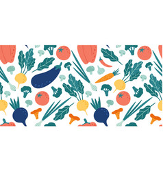 seamless vegetables pattern hand drawn doodle vector image