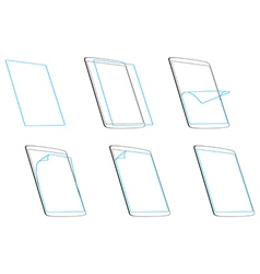 Set apply screen protector outline contour icons vector