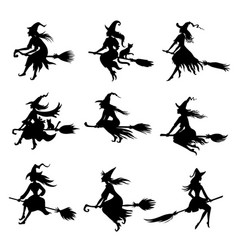 set halloween witches silhouettes vector image