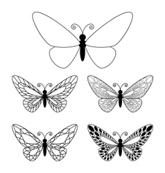Set of butteflies isolated on white vector