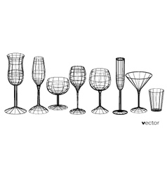 set of glasses goblets in wireframe style vector image