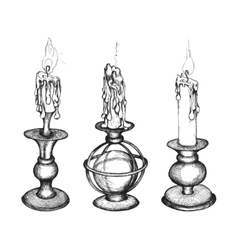 Set of hand drawn candles vector image