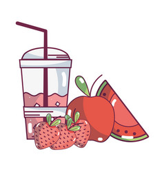 Smoothie fruit cartoon vector