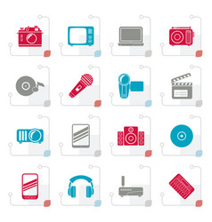 stylized media and technology icons vector image