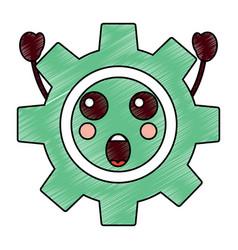 Suprised gear kawaii icon image vector