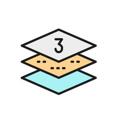 Three-layer napkin paper flat color line icon vector