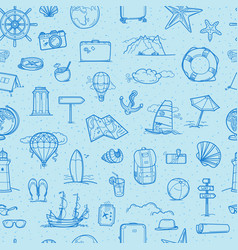 travel seamless background hand drawn doodling vector image