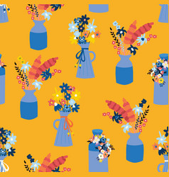 Vases with summer wildflowers seamless vector