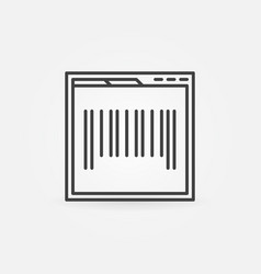 Webpage with barcode concept icon in thin line vector