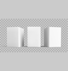 white box package mock-up set isolated 3d white vector image