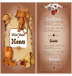 Wild west restaurant menu vector