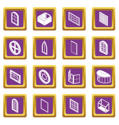 Window forms icons set purple square vector