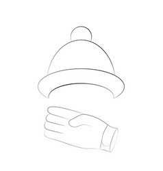 winter hat and gloves with black contours of vector image