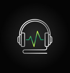 Wired headphones with green sound wave vector