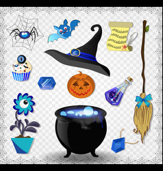 witch accessories set in blue color isolated on vector image