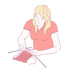 woman knitting with needles and woolen threads vector image