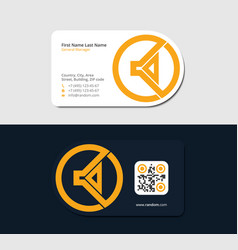 Yellow business card with audio subwoofer vector