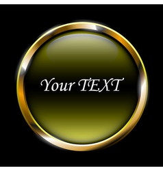 yellow glossy button on black background vector image