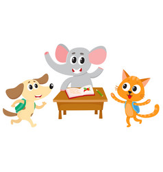 animal students - elephant cat and dog back to vector image vector image