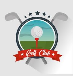 golf club ball banner star emblem vector image