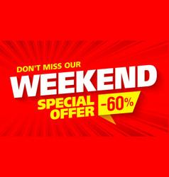 weekend sale banner vector image vector image