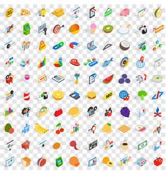 100 marketing icons set isometric 3d style vector image