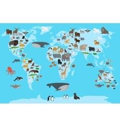 Animals world map vector