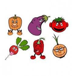 comic vegetable icons set vector image