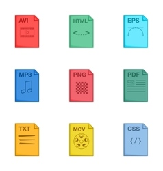 File type icons set cartoon style vector image vector image