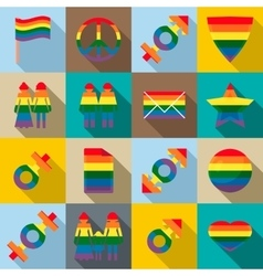 Gay pride icons set flat style vector image
