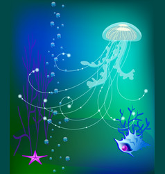 jelly fish underwater world sea shell vector image vector image