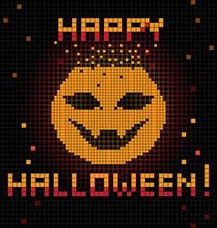 pixel happy halloween pumpkin vector image