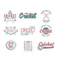 set of retro cricket sports template logo designs vector image vector image