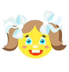 smiley girl laughs icons on a white background vector image
