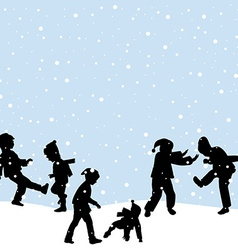 Children playing in the snow vector image vector image