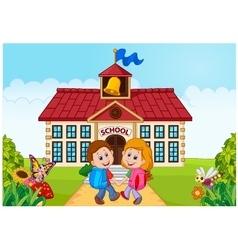 Happy little kids going to school vector image vector image