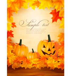 Pumpkin background with leaves Halloween vector image