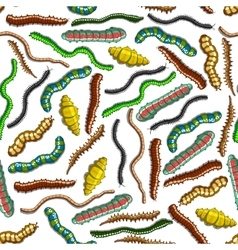 Seamless colorful crawling insects pattern vector