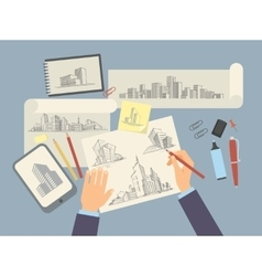 Architect designer working desk with architectural vector image vector image